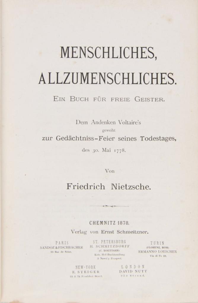 Menschliches, Allzumenschliches 1878